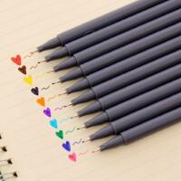 彩色勾线笔0.38mm简约极细描边笔纤维笔头水彩笔美术绘画学生用手绘笔漫画笔专业读书记号笔10色套装