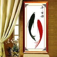 新品印花十字绣年年有余新款客厅简单新手小幅挂画简约现代鱼福图系列