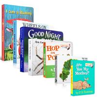 进口原版绘本0-3岁7本纸板书套装 Hungry Caterpillar Hop On Pop I Am a Bunny The Very Busy Spider 美国图书馆协会推荐儿童读物送音频