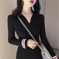法式针织毛衣连衣裙秋冬季气质内搭打底复古桔梗小黑裙子长