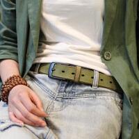 复古文艺手工日系腰带男女针扣休闲棕色绿色宽皮带