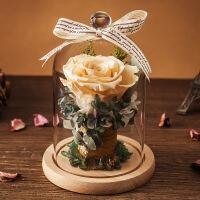 永生花礼盒玻璃罩情人节干花长生鲜花玫瑰花束摆件生日礼物送女友老婆