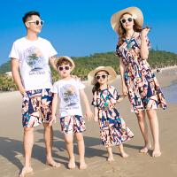 2019新款夏装潮全家装春装母子母女连衣裙一家三口四口套装亲子装