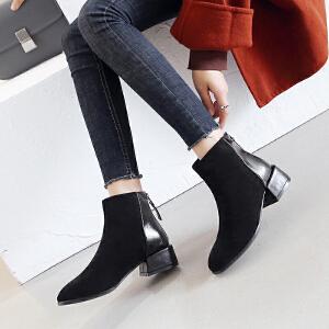 ZHR2018冬季新款方头网红短靴英伦靴子女鞋韩版百搭裸靴粗跟踝靴