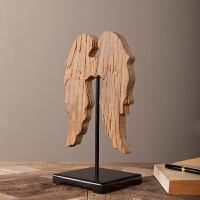 出口美国法式乡村天使翅膀摆件老榆木饰品Loft混搭装饰摆件