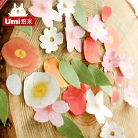 umi韩国创意文具可爱便利贴本子 小清新花朵造型留言贴便签可粘贴