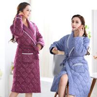 睡衣女冬加厚睡袍长袖三层夹棉睡衣女可外穿加厚可爱浴袍中长款