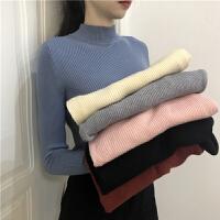 半高领套头毛衣打底衫女装春季2019新款韩版修身上衣长袖针织衫潮