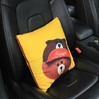 汽车创意抱枕被车载座椅腰垫腰靠枕头车用空调棉被抱枕两用午休毯