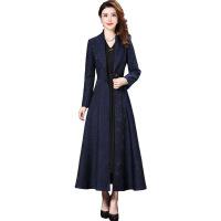 秋冬大衣女新款韩版修身显瘦大码印花系带长款风衣外套女妈妈 蓝色