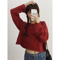 三木子秋装女装新款韩版宽松百搭短款长袖纯色T恤露脐上衣打底衫