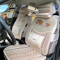 汽车坐垫夏季冰丝凉垫中国结手编亚麻汽车座垫套面包车小轿车通用