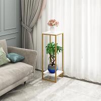 北欧铁艺花架金色简约客厅室内盆景装饰架绿萝落地多层置物花架 金色架+白色板 高95(30宽)