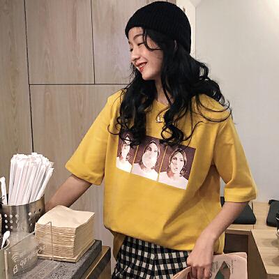 三木子快时尚女装~春夏女装韩系款宽松字母圆领短袖t恤女学生