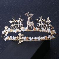 �和�皇冠�^�公主女童王冠小鹿�l箍金色冰雪奇�小女孩生日�l�MYZQ52 金色