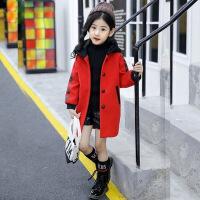 女童毛呢外套加厚中长款女孩冬装上衣小学生冬季韩版夹棉呢子大衣