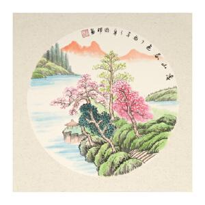 于国辉《溪山春色》卡纸 直接装框即可 山水 国画 精品 装饰 送人字画的佳品