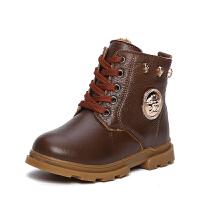 男童牛皮棉鞋拉链2016冬季新款加厚保暖 防滑韩版潮童鞋 系带马丁靴