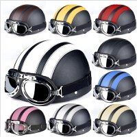 电动车半盔 时尚头盔皮质复古头盔四季通用安全帽