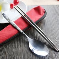 创意不锈钢便携式餐具套装学生筷子长柄勺子叉子餐具盒旅行套装 布袋颜色随机