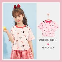 迪士尼男女童短袖T恤2021夏新款洋气打底衫儿童宝宝卡通针织上衣