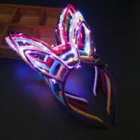 圣诞节网红发箍猫耳朵兔耳朵头饰发光发箍演唱会道具带灯夜光玩具 青色 发光兔耳朵混批