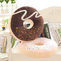 创意甜甜圈圆形垫子靠垫卡通加厚毛绒坐垫椅垫办公室电脑椅子坐垫 约36X36cm