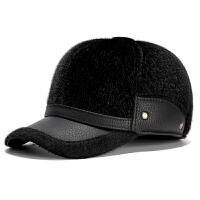 中老年人帽子男冬天老人男士护耳保暖棒球帽冬季仿貂毛加绒鸭舌帽