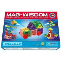 科博MAG-WISDOM磁力片64件 智慧磁力益智建构磁片 儿童积木拼装