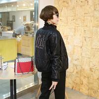 加厚皮衣女短款冬季新款韩版时尚字母刺绣皮外套宽松显瘦棒球服 黑色 M 建议80-95斤