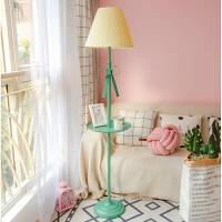 【品牌特惠】北欧风格公主儿童房客厅ins落地灯卧室床头粉色立式台灯 米黄+绿蝴蝶 5瓦暖光led灯泡
