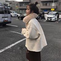 珍珍家2018新款真领毛呢外套女冬季短款小个子呢子大衣