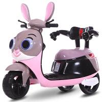 好乐美儿童电动摩托车宝宝三轮车男女小孩玩具车可坐人充电瓶童车 【高配】粉色+早教音乐+双驱 +大电+动力强劲