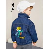 MQD童装小童牛仔外套2019秋新款宝宝后背大图案深牛仔夹克衫上衣