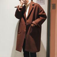新款秋冬风衣男宽松日系中长款毛呢大衣韩版潮流保暖呢子外套上衣 Y001深咖色