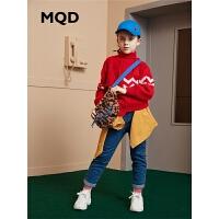MQD童装女童牛仔裤2019冬季新款儿童加绒加厚保暖直筒裤韩版长裤