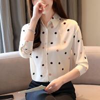 雪纺衬衫女长袖春季新款气质薄款衬衣波点很仙的上衣9363#