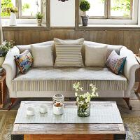 美式田园透气沙发垫双层沙发罩布艺坐垫防滑沙发套扶手巾定制 米色