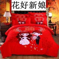 20181211030357322棉婚庆四件套磨毛结婚床上用品新婚床品大红色1.8m床单被套定制