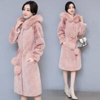 2018冬季新款羊剪绒皮草外套女中长款羊皮毛一体大衣连帽