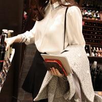 白色加绒雪纺衬衫女长袖2018秋冬装新款韩范加厚保暖冬打底衬衣潮