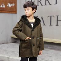 冬季中大童男童上衣外套MG3--13岁连帽麂皮绒外套