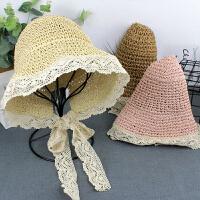 儿童镂空太阳帽渔夫帽儿童女童帽子宝宝遮阳草帽夏季薄款沙滩帽