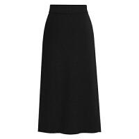 开叉半身裙秋女高腰半身长裙2018新款大码显瘦针织一步裙包臀