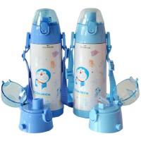包邮!芭比 叮当猫 哆啦A梦 双盖保温杯 直饮+吸管两个杯盖 480ML儿童水壶 上学水杯 浅蓝色