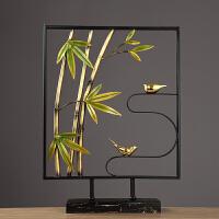 创意新中式摆件鸟语竹林新房子客厅卧室店铺柜台办公室家居装饰品