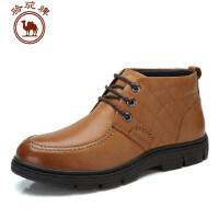 骆驼牌男鞋 头层牛皮靴子 秋冬新款保暖靴子