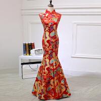 中式改良新娘结婚晚礼服敬酒服鱼尾修身显瘦旗袍礼服长款龙袍礼服