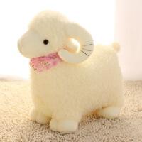 可爱仿小绵羊白色小羊公仔毛绒玩具布娃娃抱枕生日礼物送女生