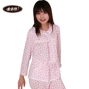 金丰田女士春秋蕾丝边可爱卡通睡衣家居服套装1504